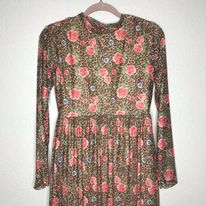 Nasty Gal Dresses - NWT Nasty Gal leopard midi mock neck dress